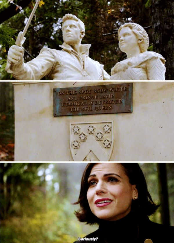 I loved how she was in awe and at the same time sarcastic because of their statue. If I was Regina, I would be the same way!