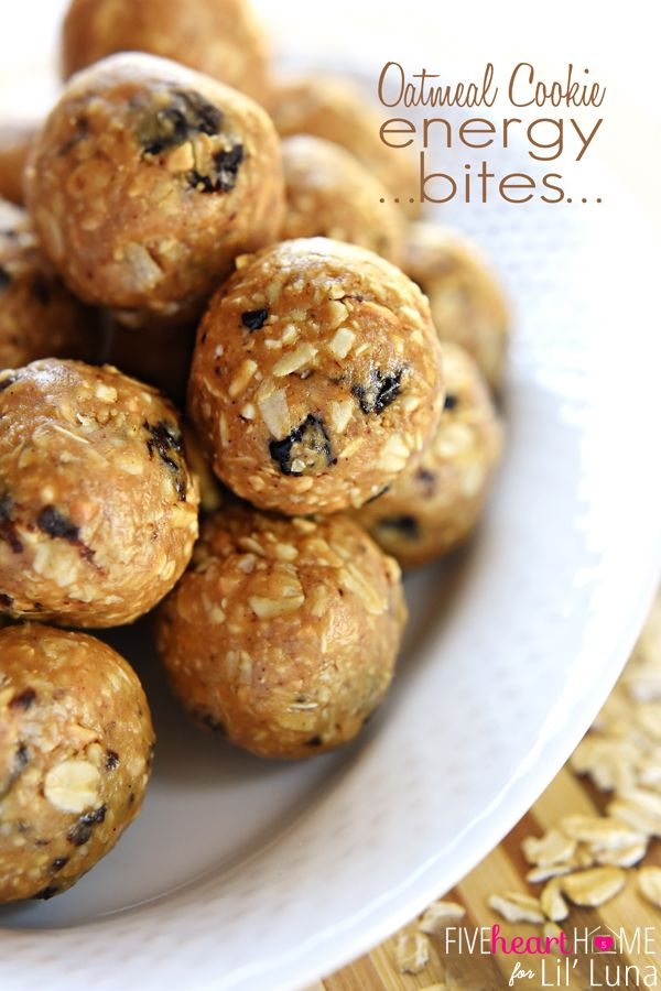 Oatmeal Cookie Energy Bites recipe. A quick and healthy snack packed with nuts, oats, raisins, peanut butter, nutmeg, cinnamon, vanilla, and honey.