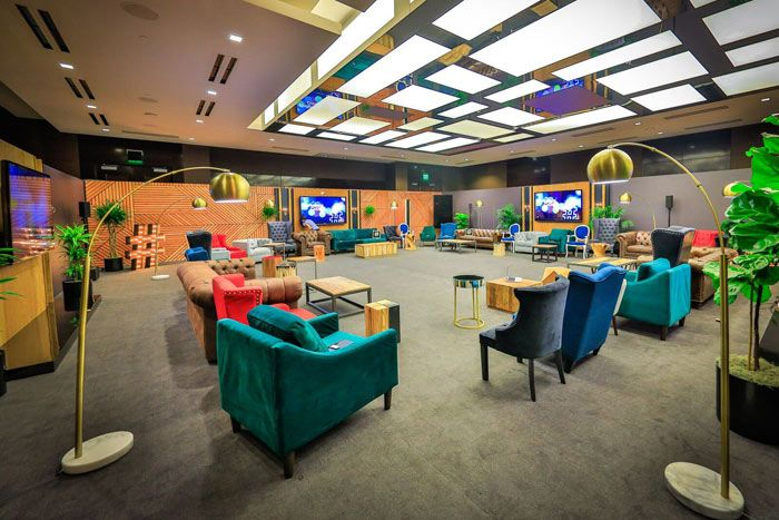Twitter Commons: The space, which was designed to feel warm and inviting for conversation, included decor elements such as a marquee-style hashtag and pillows with Twitter symbols.