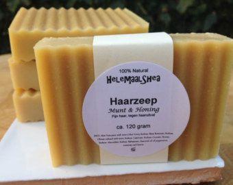 Haarzeep, Munt & Honing – voor fijn haar en tegen haaruitval / Ambachtelijke natuurlijke zeep/ Solid Shampoo Bar