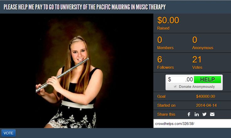 FEATURED CAMPAIGN OF THE DAY:  Margaret Harrison is planning to become a music therapist. She has been accepted to the University of the Pacific Stockton California, which has one of the oldest music therapy programs in the country. Her great desire is to be able to help autistic children to be more functional through music therapy.  Help Margaret Harrison Pursue Her Dream of Becoming a Music Therapist With Your Education Donation: http://www.crowdhelps.com/326/38  #education #donate