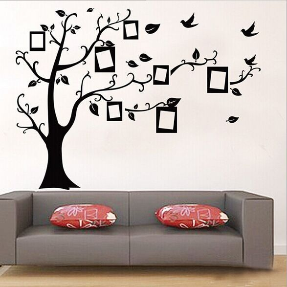 1set Large Size 90*120cm Black Color Family Tree Sticker Wall Decal & Photo Frame Tree Stickers For Living Room Wall Decor