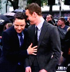 James McAvoy and Michael Fassbender --- love how Michael kinda holds his hand juuuuust a lil bit there... X3