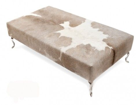 Beige And White Cowhide Ottoman With Queen Anne Legs · Leather Ottoman  Coffee TableOttoman ...