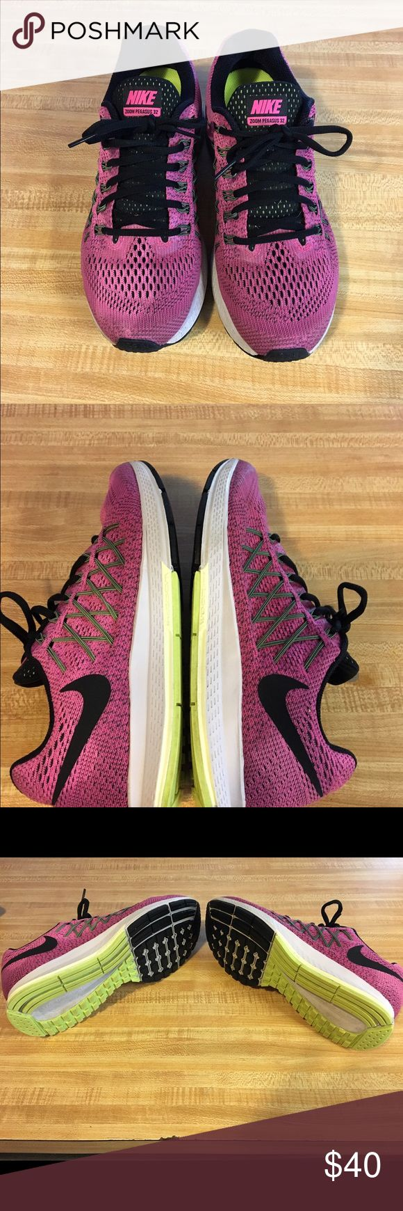 Nike Pegasus 32 Pink/Black Nike Pegasus 32. Wore 3-4 times. Son bought Sz 8.5 & I prefer Sz 9 to run in. Excellent Condition but part of the letter g rubbed off on inside of one shoe. Want to buy same shoe Sz 9. Very good shoes!! There's nothing wrong w color of shoe, I washed them off & they're still wet in pic🙂Pic 6 is dry. Open to offers🙂 Nike Shoes Athletic Shoes