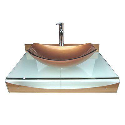 Kokols WF-24 31-in Wall Mount Vessel Bathroom Vanity with Sink Combo Set