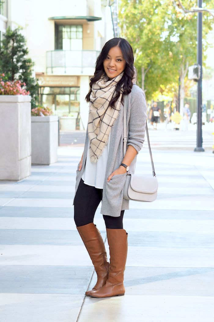 Legging Dress Up with Cardigan and Riding Boots Outfit Side