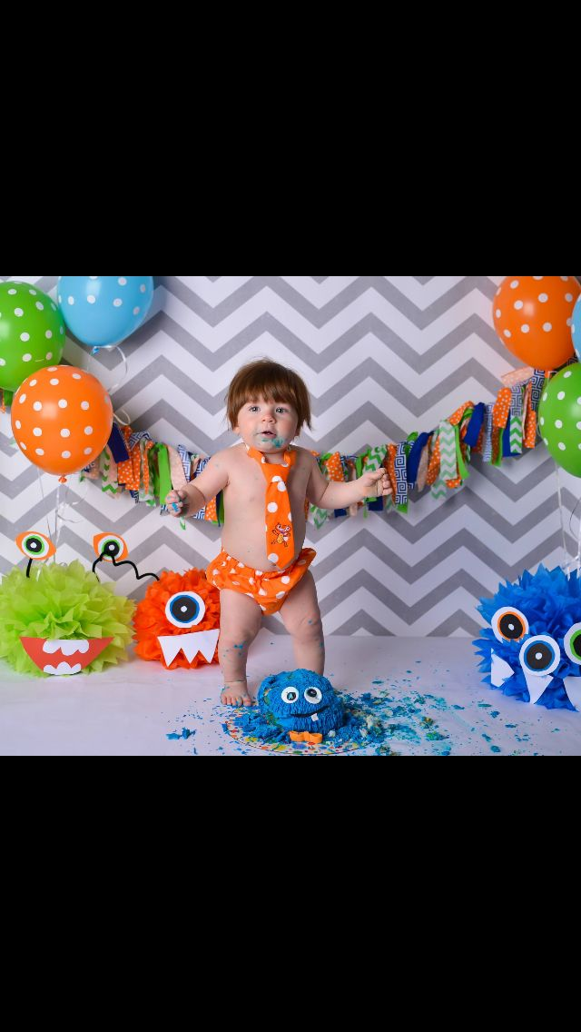 Monster cake smash --BUT look at the tissue paper monsters!!!