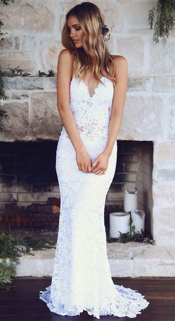 Country White Lace Mermaid Wedding Dresses Cheap Spaghetti Straps