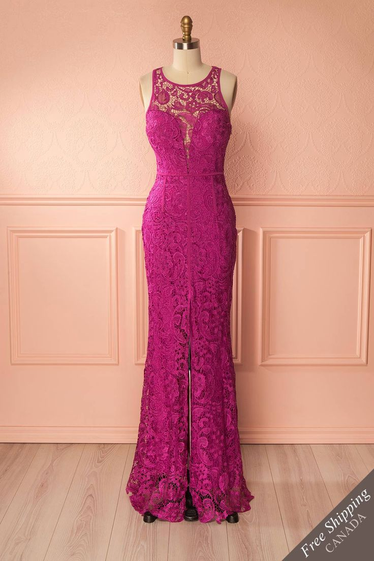 Nilia Magenta Lace Maxi Mermaid Gown | Boutique 1861