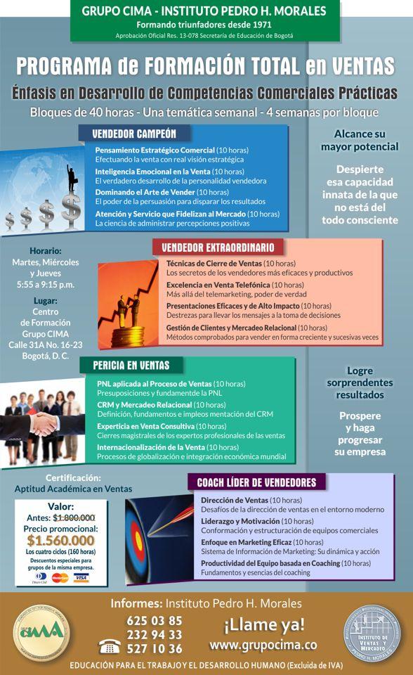 Formación total en ventas iniciamos el martes 19 de Mayo inscripciones abiertas  PBX 6250385 Bogotá