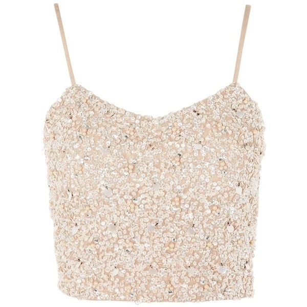 Sandy Hand Embellished Crop Top by Lace & Beads (£48) ❤ liked on Polyvore featuring tops, nude, pink lace top, lace crop top, sequin party tops, party tops and beaded crop top