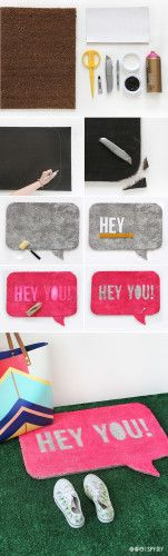 DIY QUOTE BUBBLE WELCOME MAT #diy #mat #doormat #bathmat #handmade