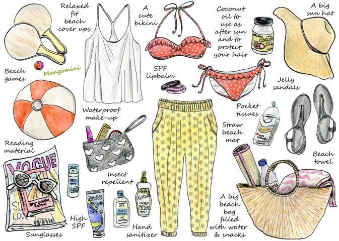 How To Pack For A Day At The Beach Cindy Mangomini The temperatures are rising in my city and I'm hoping that my first beach day this season will not be far away. So for this week's illustrated how-to, I've collected all the things I need for a perfect day on the beach. From the obvious (bikini, sunscreen), to the practical, to the not-necessary-but-so-much-more-fun things. Now all I need is some free time and some sunshine and I'm ready to hit the beach!