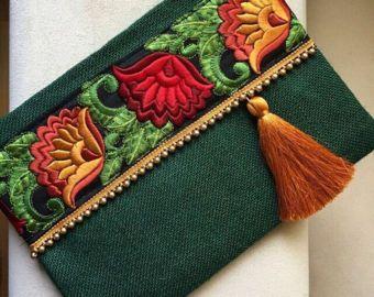 Tela de fieltro hecho a mano bolso étnico rojo Claret