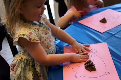 """Finger Paint pigs with """"mud"""" (chocolate pudding)- goes with a great Three Little Pigs Unit- also good for farm unit."""