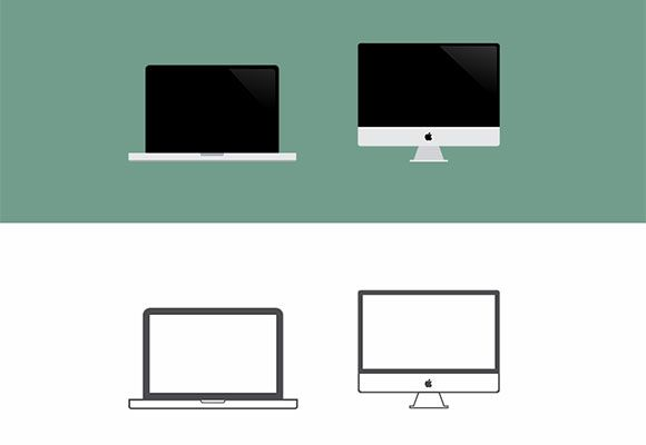 PSD Freebie: Macbook  iMac big icons PSD