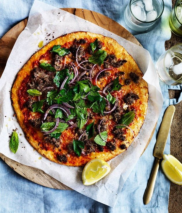 Emma Knowles fast recipe for spiced lamb pizza with onion, mint and sumac.