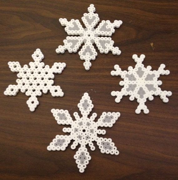 Snowflake Ornaments Set of 4 Perler beads by OtakuBeads