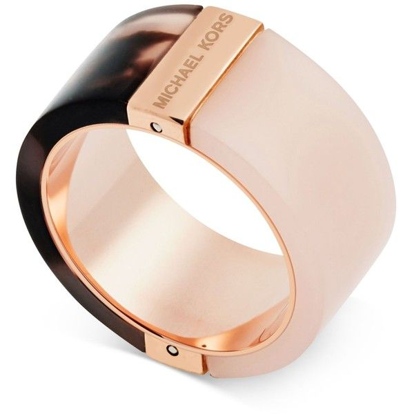 Michael Kors Rose Color Blocked Rings ($75) ❤ liked on Polyvore featuring jewelry, rings, rose gold, michael kors jewelry, tortoise shell ring, red gold jewelry, red gold ring and rose gold jewelry