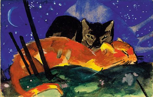 Two Cats postcard from Sindelsdorf to Lily Klee Munich by Franz Marc, 1913