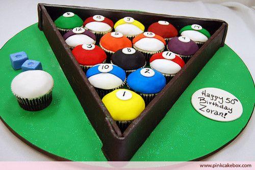 Cake Billards Pool Cupcake Designs Birthday picture 10908