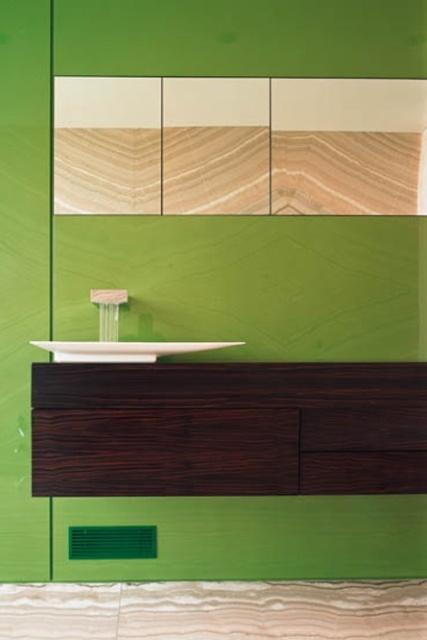 WOOD DESIGN INSPIRATION || Wood & Bathroom || #wood #bathroom #interiors: Design Inspiration, Bathroom Bling, Bathroom Interiors, Green Wall, Nikola Koenig, Interiors Bathroom, Interiors Details, Cabinets Wood, Divine Bathroom