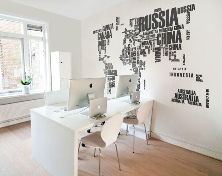 World map wall decal with Country names Removable Vinyl map wall decal Vinyl Sticker - WM008  #burgundy #map #walldecal #wallart #decal #world