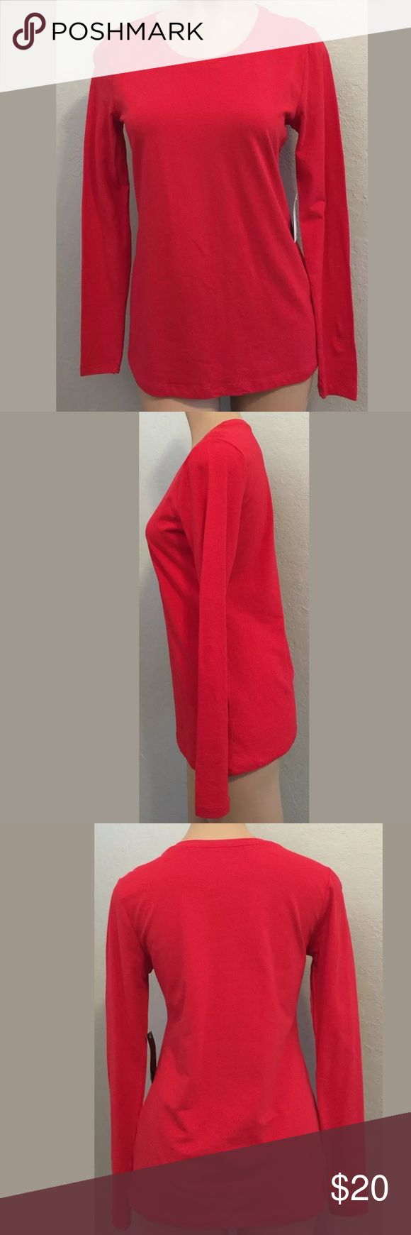 "Philosophy small red long sleeve top round neck NWT Philosophy by Republic size small red long sleeve top with round neck line. 94% Cotton 6% Spandex. Bust 17 1/4"" armpit to armpit Length 25 3/4"" side to side Measurements are approximate Philosophy by Republic  Tops"