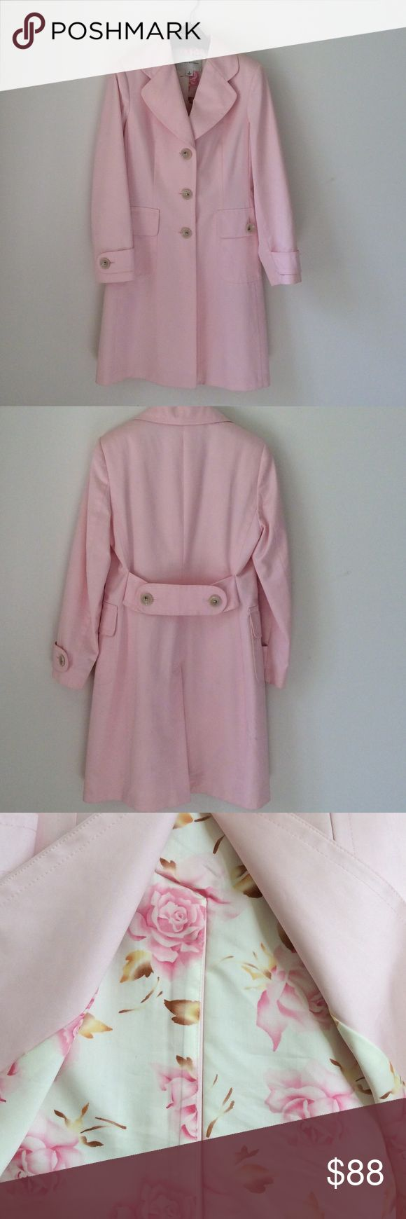 BANANA REPUBLIC COAT🌸 Stunning pale pink cotton sateen coat with floral satin lining Banana Republic Jackets & Coats