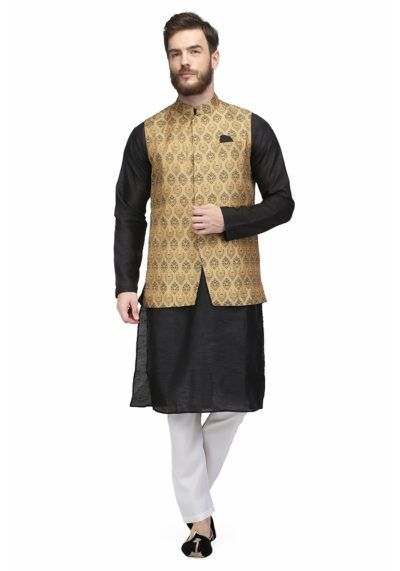 Gold Colored Brocade Nehru Jacket By Pret a Porter