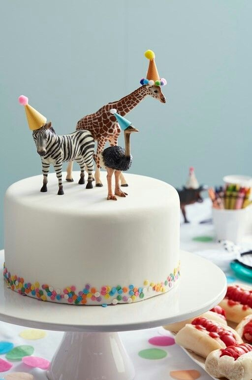Cute Party Animal Cake With Birthday Hats
