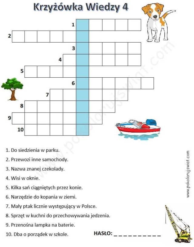 Krzyżówka wiedzy 4 dla dzieci do wydruku