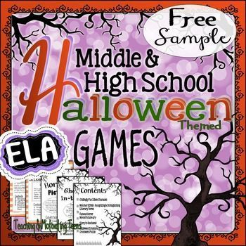 "Halloween Games & Puzzle - Sample Freebie for Middle & Secondary English Language Arts. Fun and CCSS based. Treat your middle and high school students with a Halloween game sample freebie! With this download, you'll receive a complimentary edition of the game ""Chillingly Fun Idioms Charades."" This edition includes teacher's instructions, quick idiom review handout, and one page of clue cards."