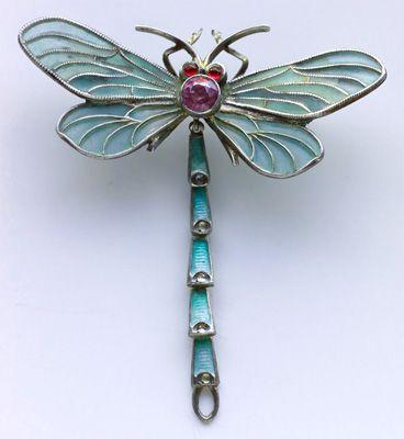 MEYLE & MAYER (Pforzheim)  Art Nouveau Dragonfly Brooch  Silver & plique a jour enamel  German. Circa 1900