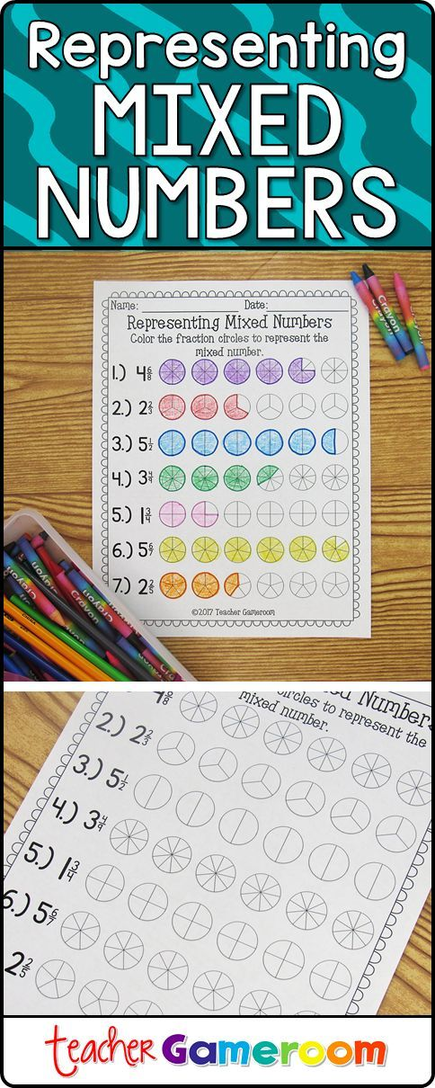 tudents use crayons or markers to color in the appropriate number of fraction circles to create the mixed number at the left. #fractions #tpt #iteachtoo