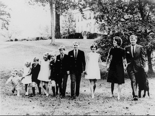 Senator Robert F. Kennedy and Ethel Kennedy pose with eight of their nine children on the lawn of their home at McLean, Va., in this October 15, 1966, file photo. From right: Kathleen, 15; Joseph, 14; Robert Jr, 13; David, 11; Mary Courtney, 10; Michael, 8; Kerry, 7; and Christopher, 3.
