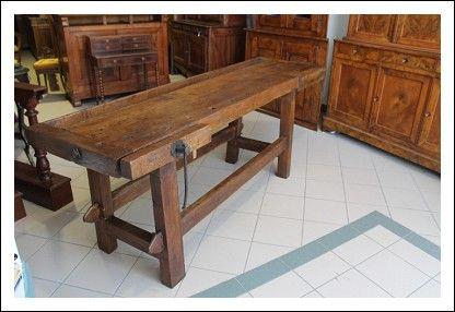 Banco Da falegname tavolo da lavoro restaurato Umbro in quercia epoca 800. Pesantissimo tavola unic