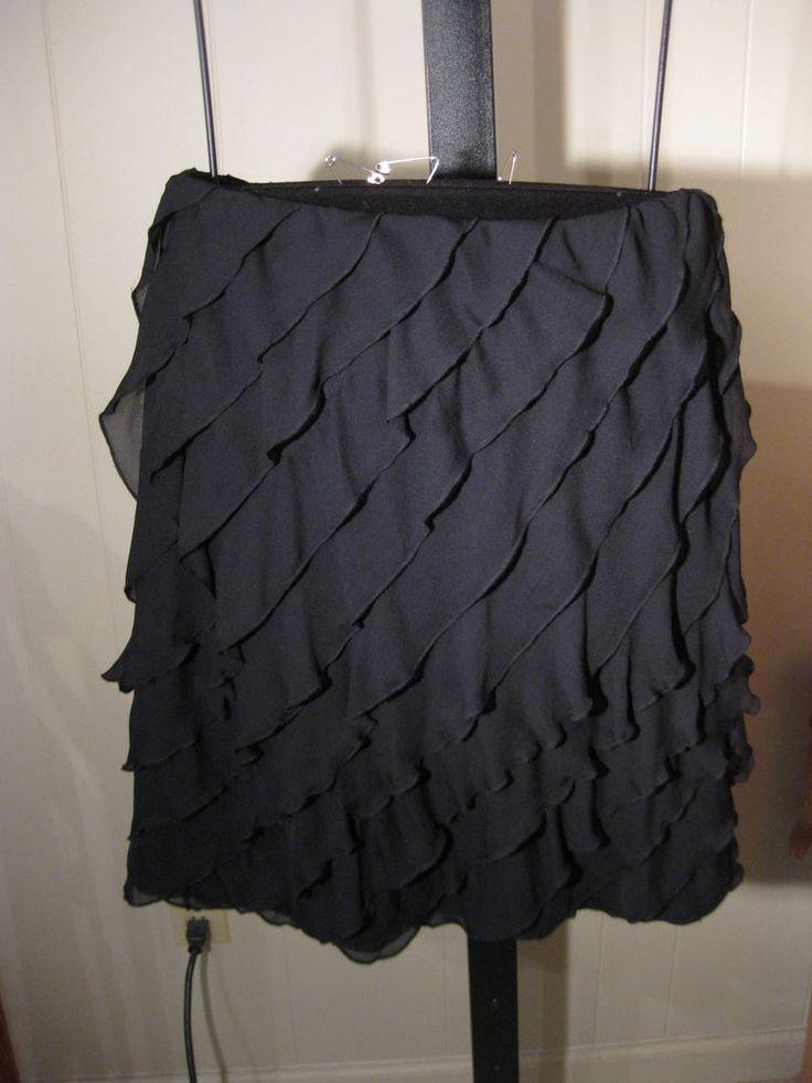 MISSES BLACK SOLID DIAGONAL SILK TIER RUFFLE SKIRT TALBOTS 2 4 8 10 $149  #Talbots #Tiered