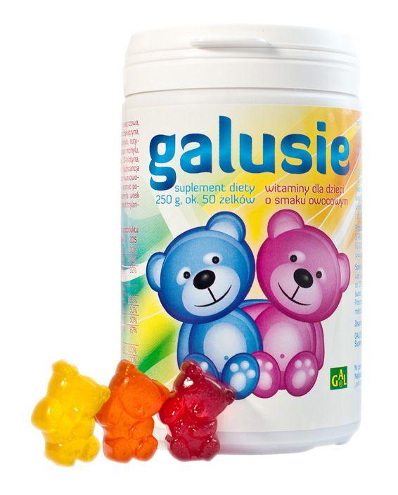 GALUSIE // Żelki witaminowe przeznaczone dla dzieci powyżej 3. roku życia jako uzupełnienie codziennej diety w witaminy oraz składniki mineralne, niezbędne do prawidłowego wzrostu i rozwoju dzieci. Zalecany jest szczególnie w okresach intensywnego wysiłku fizycznego, w okresach podwyższonej zachorowalności i obniżonej odporności organizmu. http://www.gal.com.pl/produkty/suplementy-diety/galusie.html