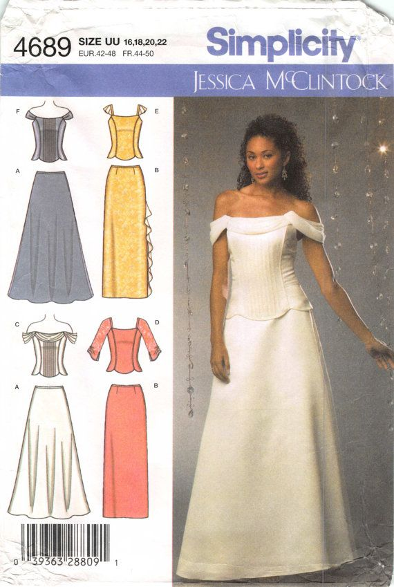 Sizes 16 18 20 22 Bust 38 40 43 44 Misses and Womens Special Occasion Dress Gown; Simplicity 4689 Jessica McClintock Sewing Patterns by AffordablePatterns