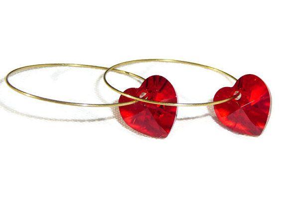 Swarovski Hoop Earrings with Red Swarovski Crystal by BlissfulVine, $14.00