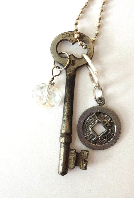 Old Key Jewelry Vintage Skeleton Key Coin Necklace on Etsy, $23.00