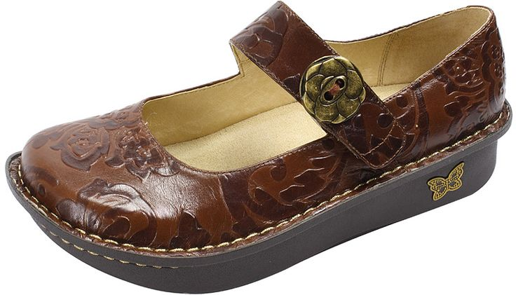 Paloma Yeehaw Brown by Alegria!  The Paloma features an adjustable velcro instep strap. Of course, it is built on the original stable, rocker outsole that is engineered to roll naturally, reducing heel and central metatarsal pressure. The flat bottom makes it easy to walk in while encouraging proper posture and normal gait.