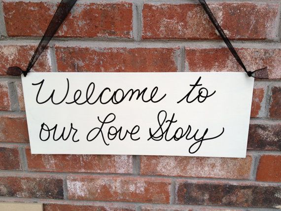 Ivory and Black Welcome To Our Love Story Wedding Sign Ivory Wedding Decor Hanger on Etsy, $14.00