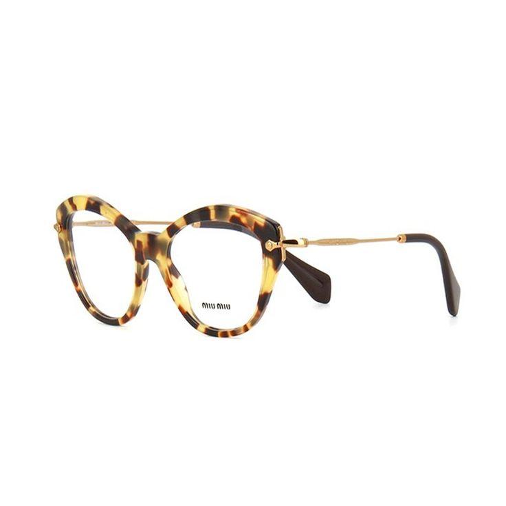 Miu Miu 02OV 7S01O1. Occhiale donna da vista Miu Miu. Montatura estremamente di tendenza con frontale in celluloide di colore havana chiaro. Forma a punta ed aste in metallo color oro.
