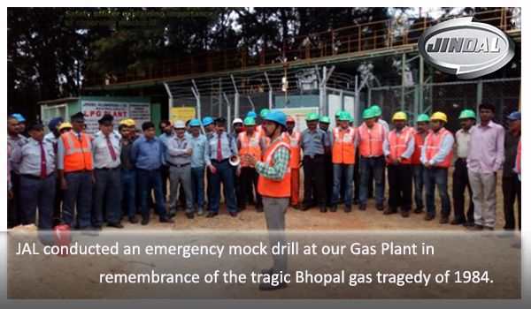 Safety is paramount and we take it very seriously. We conducted an emergency mock drill at our JAL Gas Plant on 2-12-2016 @ 3 pm in remembrance of the tragic Bhopal gas tragedy of 1984. The drill aimed to create awareness among employees, assess our emergency preparedness levels and check and monitor response times of the various teams involved.