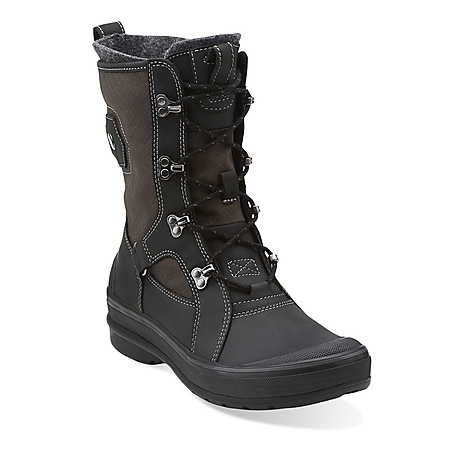 95879fc8d3057 Muckers Squall in Black Leather w  Black Canvas - Womens Boots from Clarks