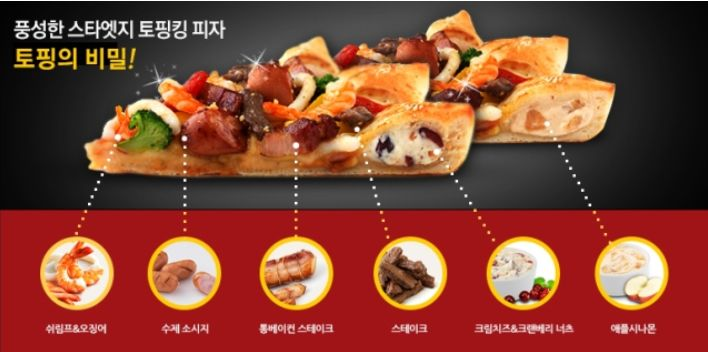 Pizza Hut Korea Latest comes with surf & turf and stuffed with dessert.It's shaped like a start so they are calling it Star Edge