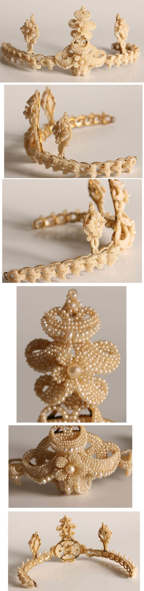 CIRCA 1850'S SEED PEARL TIARA. Tiara comprised of thousands of seed pearls, hand drilled and strung on mother of pearl backing and laced on to a gold wire frame. http://www.liveauctioneers.com/item/26720278_a-victorian-diamond-tiaranecklace